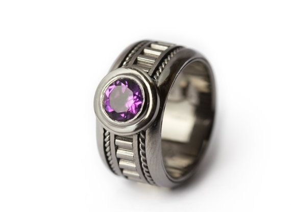 The Man Ring - Amethyst personalized Men's Black Ring / Gothic Ring/Edgy Ring/Boyfriend Gift for Man on Etsy, $360.00