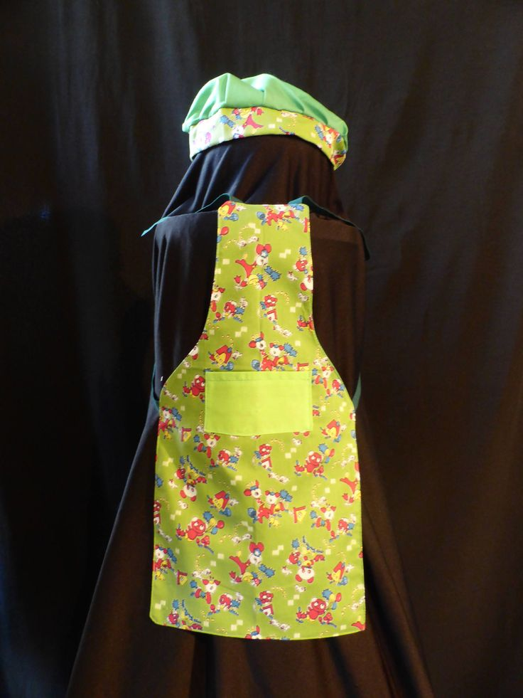 Handmade 0 - 2 Years,  Kids Green Teady Bear Apron With Chefs Hat, Fully Reversible, Green Backing, Tie Strings at Neck & Wast. by ArtisticArtistryCo on Etsy