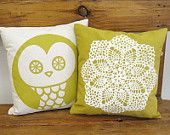 Decorative Pillow Cover · Hand screenprinted Cushion · Throw Pillow · Granny · Doily · Crochet · Insert NOT included