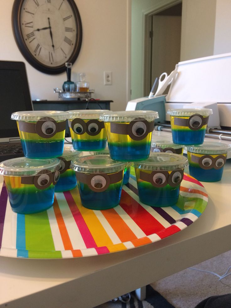 Minion jello cups.  Minion themed birthday party.