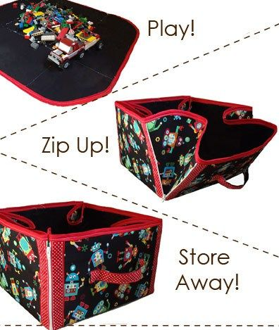 Zip playtime up on the go or at home with this quick and easy 2-in-1 playmat and toy storage totePDF sewing patternby Cozy Nest Designs! Just zip up the corners to convert the playmat to a tote.…