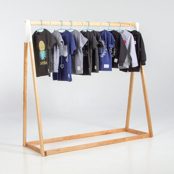 MEDY - Clothing rack, 60″ High, White, Black, Natural, Birch Wood, Hand Made, Kids Storage, Minimalist, Hip Looking.