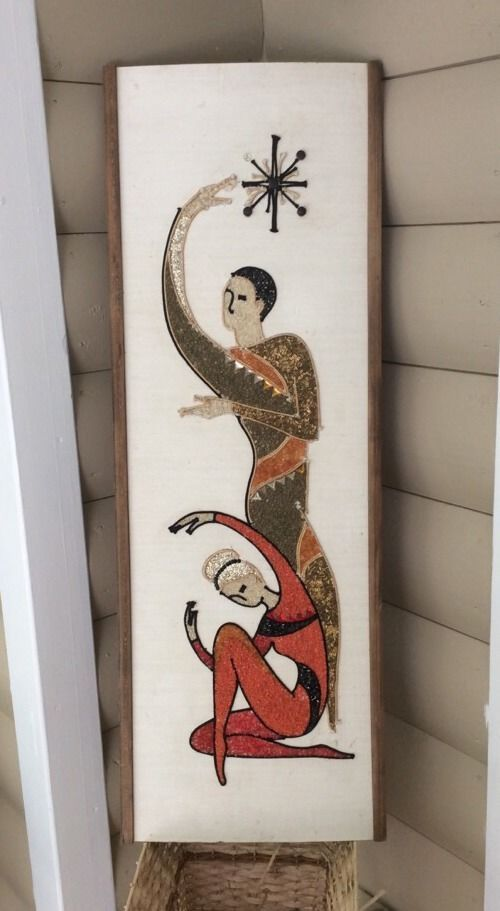 mid Century Art Gravel Pebble Mosaic Modern Wall Art Deco Jazz Ballet Dancers