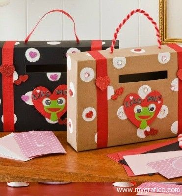 Valentine Boxes--These cute boxes are made out of cereal boxes. The handle is a great idea and you could get as creative as you would like decorating these boxes.