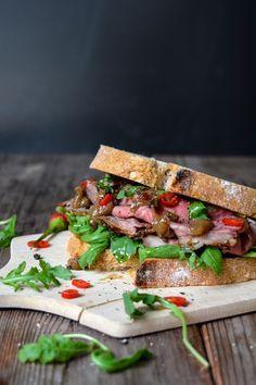 Spicy Roast Beef and Rhubarb Chutney Sandwich