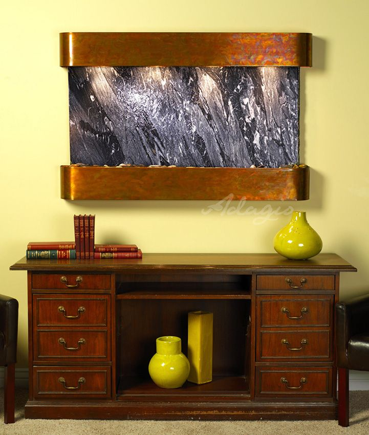 Sunrise Springs Wall Fountain With Black Spider Marble In Rustic Copper