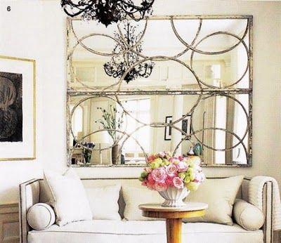 good idea -- antique mirrors hung horizontally. Elle Decor