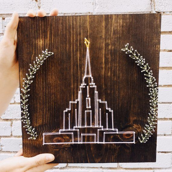 LDS Temple with Leaves in String Art