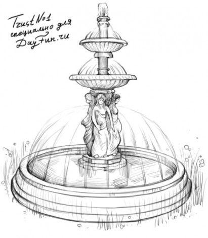 Как нарисовать фонтан карандашом поэтапно 4