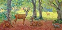 Stags and a badger in a beech forest by Johannes Larsen