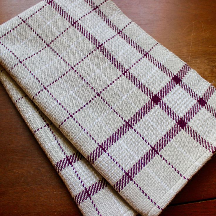 Kitchen Towel Handwoven Dish Hand Woven Cotton Plum Purple Gray White Windowpane Twill Chef by WovenTogetherCrafts on Etsy