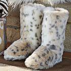 Faux Fur Booties - Snow Leopard