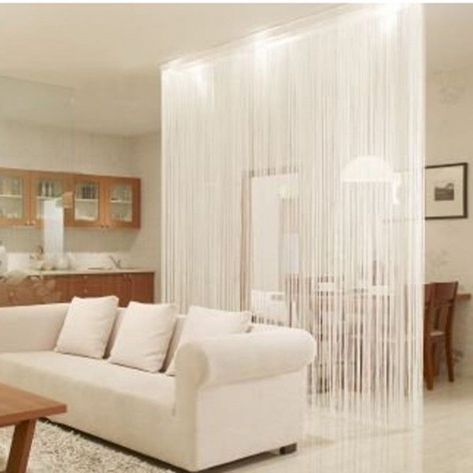 AMAZING!!! Bathroom door ETC... White String Curtain Panel