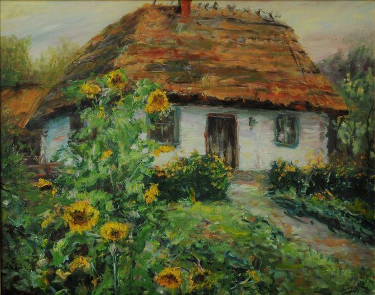 Piotr Pawelczyk malarstwo olejne i rękodzieło. Wiejska Chata z ogrodem obraz olejny.