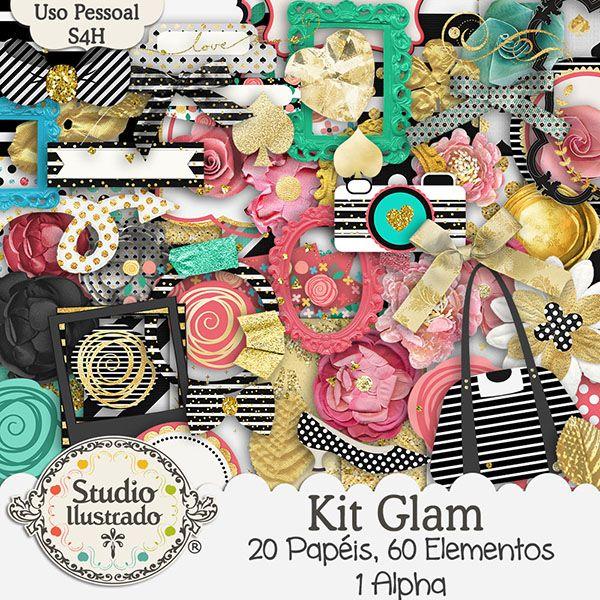 Kit Glam, Glamour, bolsa, bag, espelho, mirros, laço, bow, letras, letters, números, numbers, poa, bolinha, polka dots, patters, padrões, coração, heart, stripes, retro, kit digital, digital kit, elementos, papéis, elements, papers, paper.