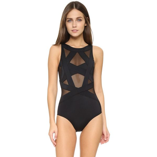 OYE Swimwear Esther One Piece ($350) ❤ liked on Polyvore featuring swimwear, one-piece swimsuits, black, one piece swim suit, bathing suit swimwear, swim suits, swimming costume and swimsuit swimwear