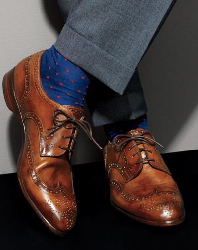 Brown laces leather shoes with blue socks. Hmmm...