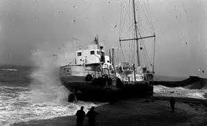 Radio Caroline's boat Mi Amigo washed up on Frinton beach during a severe storm, January 1966