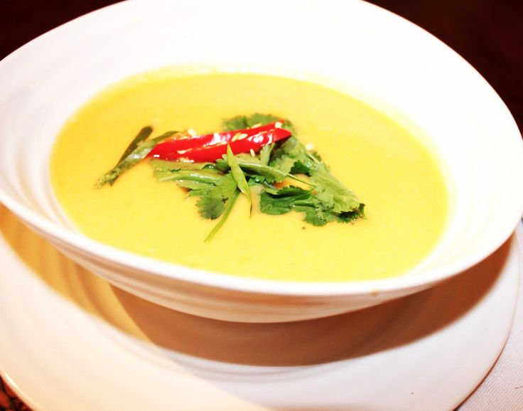 Sweet potato, lime and coconut soup with chilli and crispy shallots