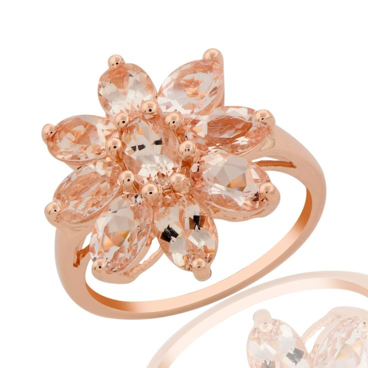 PINK MORGANITE GEMSTONE ROSE GOLD PLATED RING IN 925 STERLING SILVER #R2412