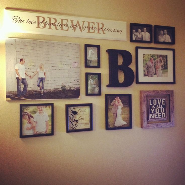 Picture collage living room walls pinterest first anniversary entry ways and family wall Family pictures on living room wall