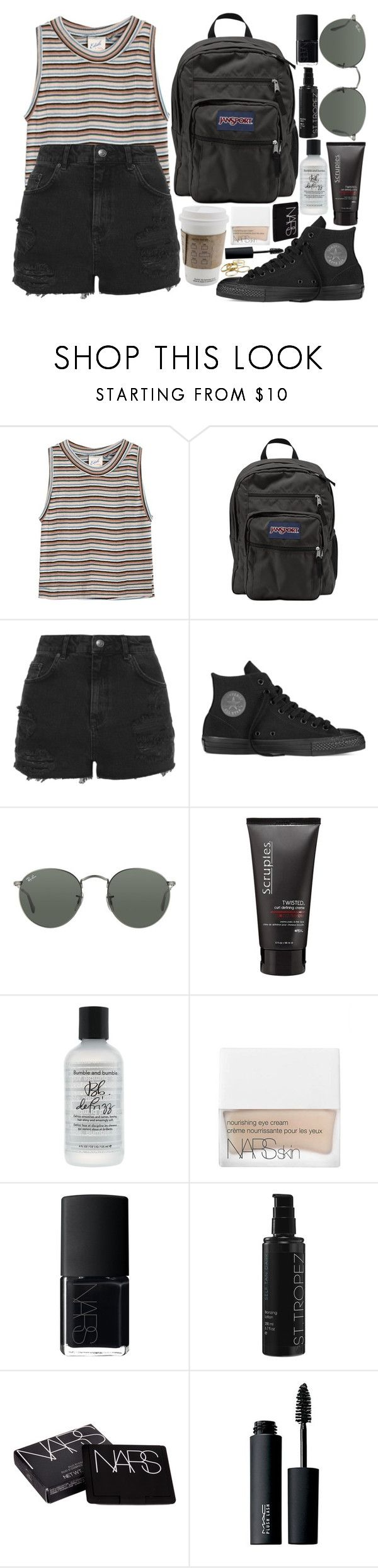 """""""some say"""" by velvet-ears ❤ liked on Polyvore featuring Edith A. Miller, JanSport, Topshop, Converse, Ray-Ban, Bumble and bumble, NARS Cosmetics, St. Tropez, MAC Cosmetics and Kendra Scott"""