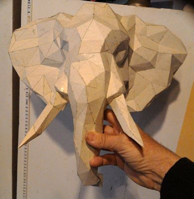 Elephant Head Wall Hanging Decoration Ver.2 Free Paper Craft Download