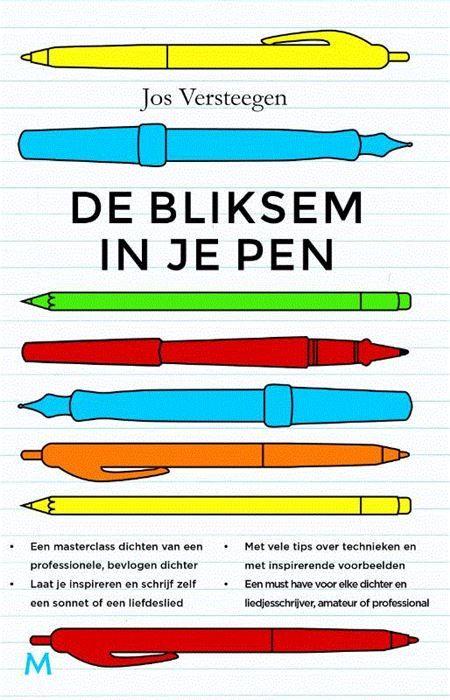 Bliksem in je pen  Wie een gedicht of een lied wil schrijven heeft meer nodig dan inspiratie. Of dat nu voor Sinterklaas is voor een collega die af-scheid neemt of voor een literair tijdschrift dichten kun je leren.Maar muzikaliteit bijvoorbeeld hoe bereik je die? Hoe breng je emoties in een gedicht? En hoe schrijf je op een beeldende manier? Daar zijn technieken voor die je met wat oefening in de vingers kunt krijgen.De bliksem in je pen is als een gereedschapskist waarin die middelen…