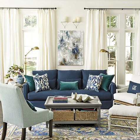 Orson Sofa With Deep Saturated Blues