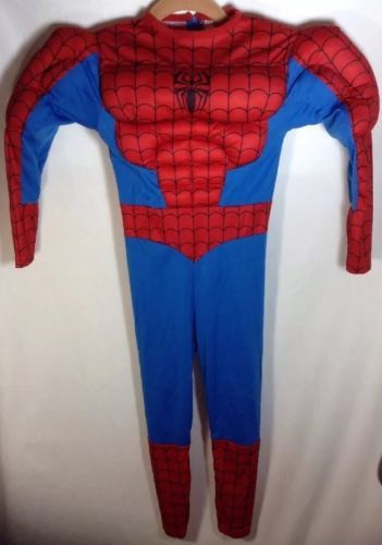 """Spiderman Halloween Costume (4-6) Youth Marvel Muscle Chest One Piece 38"""" Length"""