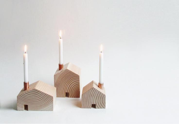 Simple wooden candle holders - houses   Techniek ...