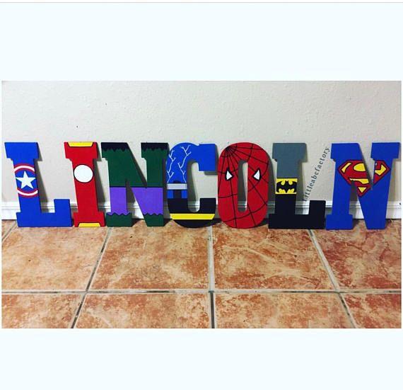 11 en superhéroe letras Letras de superhéroe vivero de