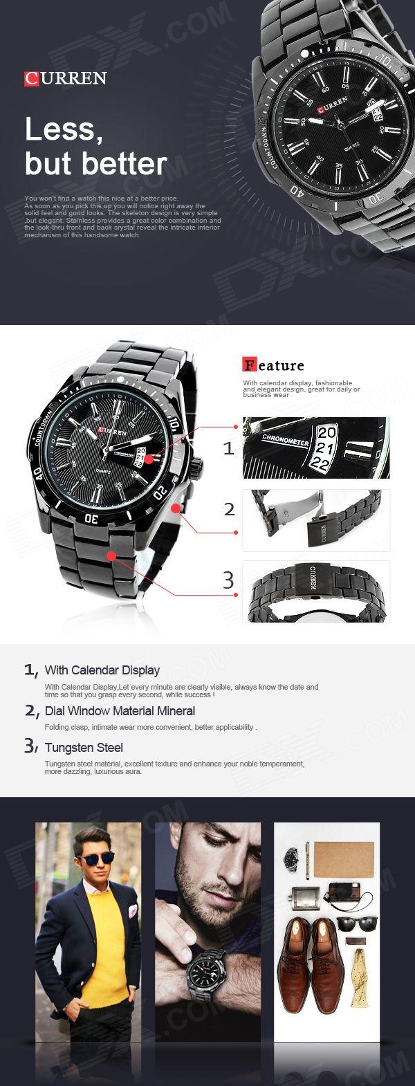 CURREN 8110 Men's Steel Band Quartz Wrist Watch w/ Calendar - Black - Free Shipping - DealExtreme