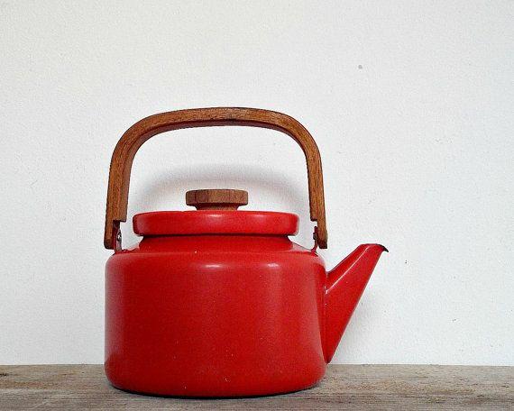DANISH DESIGN KETTLE - vintage 1960 coffee pot teapot, industrial minimal red, enamel teapot, enamelware, wooden handle, cookware, kitchen