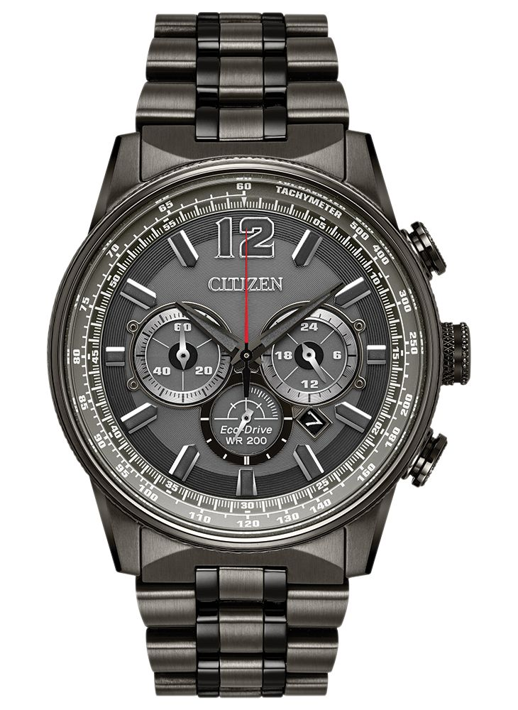 NIGHTHAWK  Modelo: CA4377-53H  Alimentado por cualquier luz, este reloj nunca necesita una batería. Con cronógrafo, tiempo de 12/24 horas y fechador en una caja de granito pavonado y pulsera de acero inoxidable en carátula gris carbón y detalles en rojo brillante.