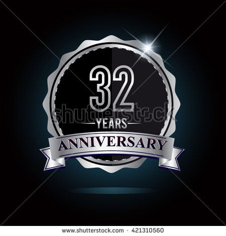 32nd anniversary logo with ribbon. 32 years anniversary signs illustration. Silver anniversary logo with ribbon. - stock vector