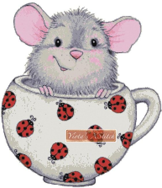 Mouse in a cup cross stitch kit