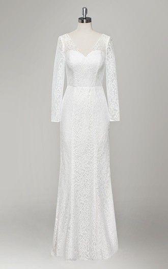 V Neck Long Sleeve Sheath Lace Wedding Dress