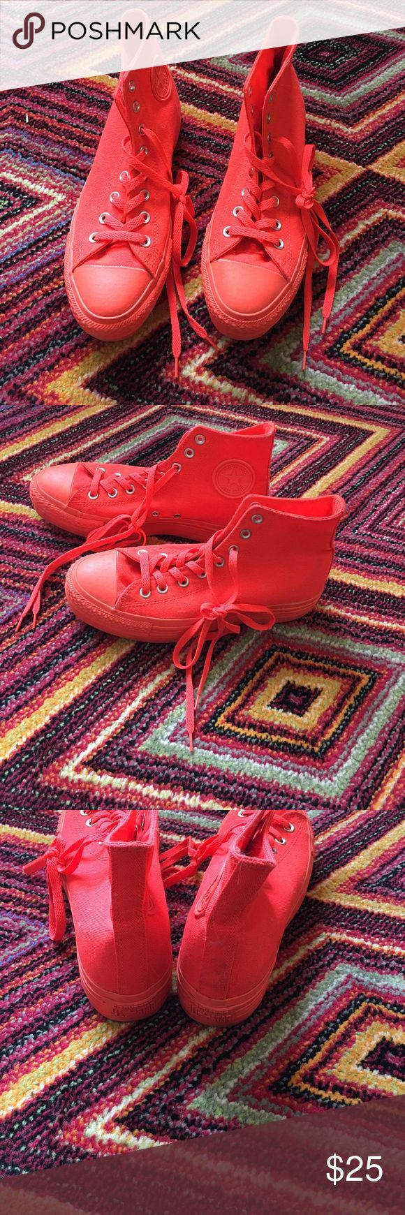 Neon coral Converse High top neon coral Converse size 9. Barely worn but a little dirty from moving Converse Shoes Sneakers