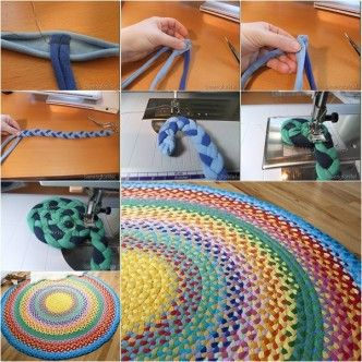 DIY weaving and sewing t-shirt rug tutorial, instruction.  Follow us: http://on.fb.me/1rWIbQo