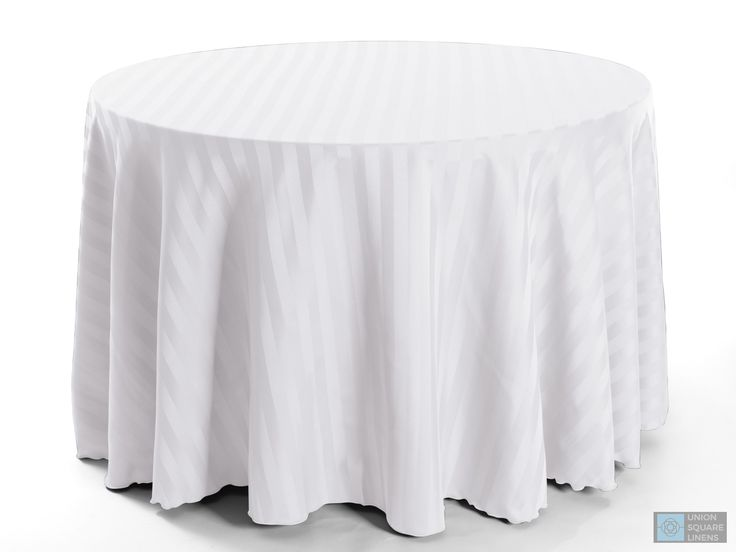 White Polyester Stripe Round Tablecloth