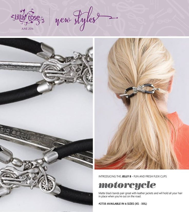 I got this awesome motorcycle hair clip  that you can wear under your helmet and it won't poke your head, or hurt your hair and will stay put!  So comfortable. I am definitely getting a few more.