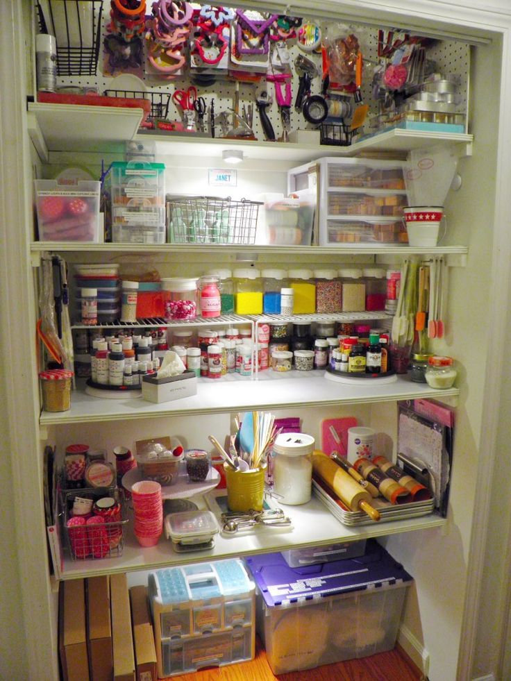 Pantry Dedicated Solely To Baking And Decorating Supplies Love The Pegboard For Cookie Cutters Maybe I Can Do Something Similar W Island Storage