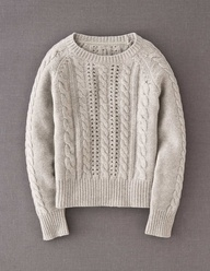 Fall's Fashion Fairy-Dust...the neutral nubby fisherman's sweater.  Add to any summer item for instant autumn chic!