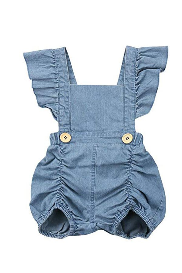ebbdd7a9a93 Calsunbaby Infant Baby Girls One Piece Short Sleeve Ripped Demin Jeans Ruffle  Romper Sunsuit Outfits Jumpsuit
