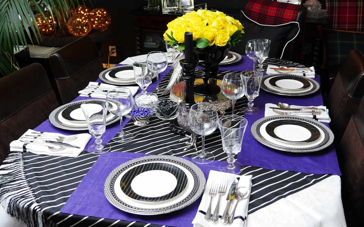 Black and white stripes yellow roses table setting dining room