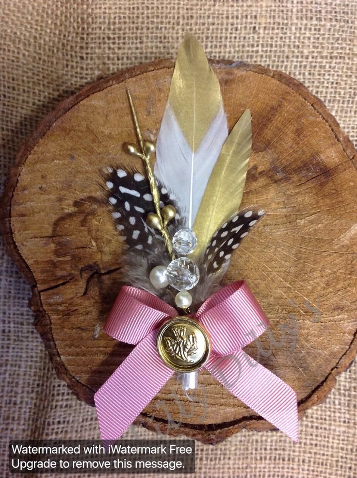 Handcrafted alternative button hole from Lilly Dilly's #wedding #groom #ushers #bespoke #handcrafted # blush #pink #gold #feathers #pearls #Lilly Dilly's