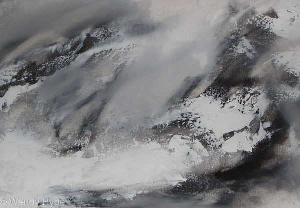 Raging Sea - Inspired by the beauty and drama of the sea. Worked with oils on fabriano paper. Presented in a white wooden frame under plexi glass Frame measures  43 H x 54 W cms (see work in situ for frame) Price includes frame