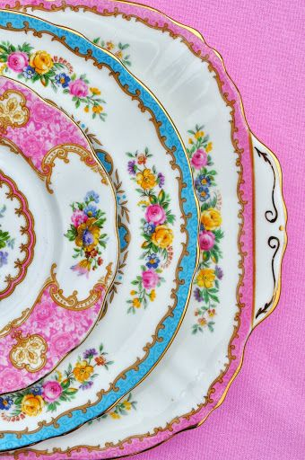 pretty floral Crown Staffordshire Tunis and Royal Albert Lady Carlyle