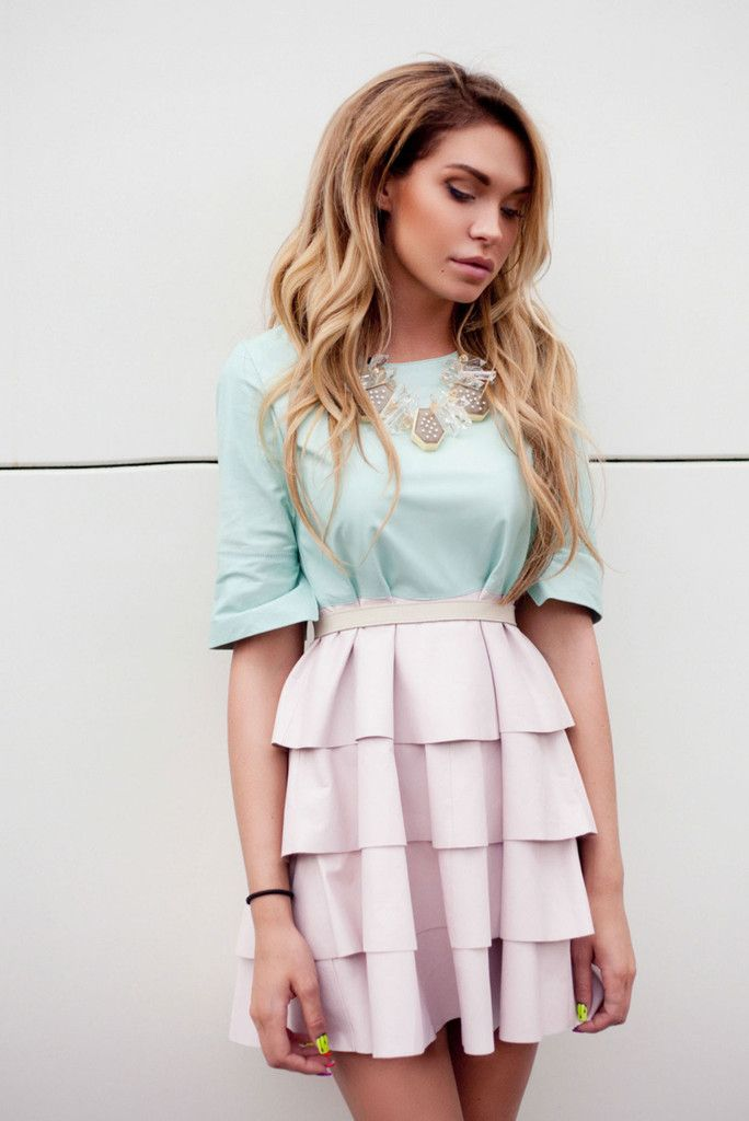 Mini tiffany and pink dress with a ruffled skirt. Pair yours with tonal sandals or pumps.